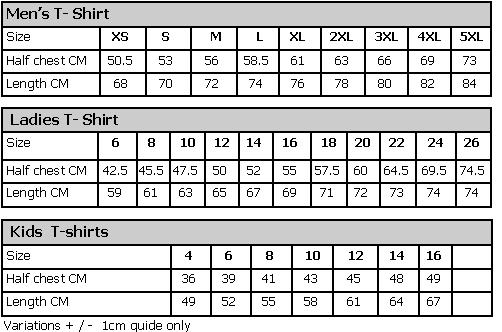 Size Chart T-shirts