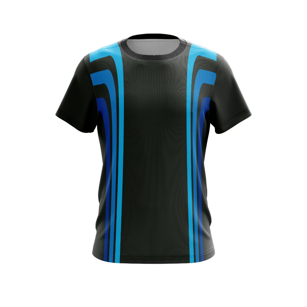 Sublimated T-shirt Black Blue Stripes