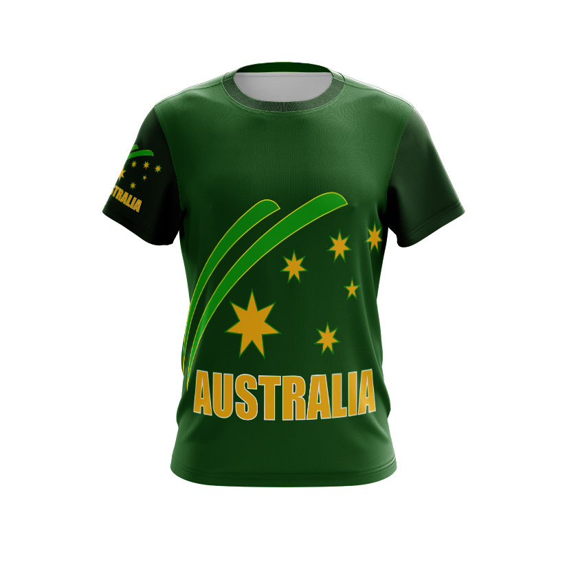 Dye Sublimated T-shirt Aussie Green and Gold