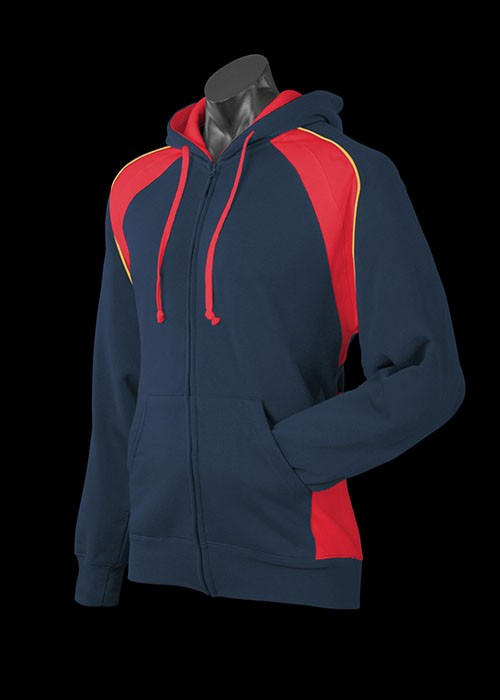 panorama hoodie -navy-red-gold