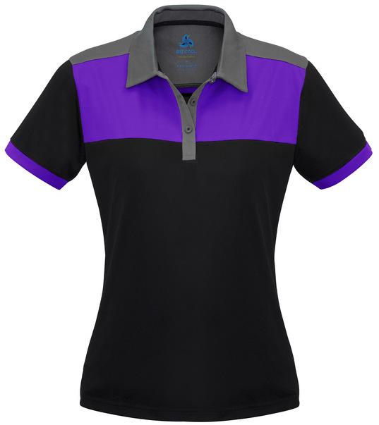 Ladies Charger Polo shirt Purple Black Grey