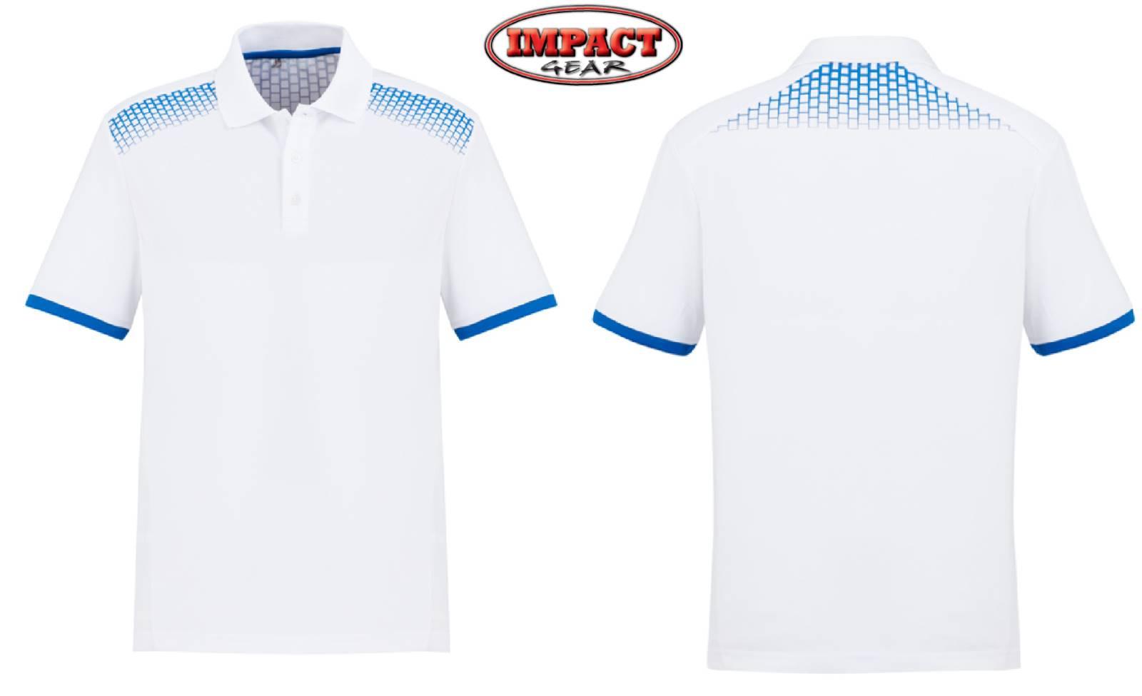 White / Royal Galaxy Polo shirts Mens Ladies sizes