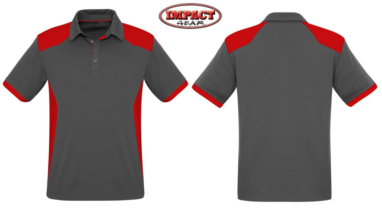 Grey Red Rival  Polo shirts