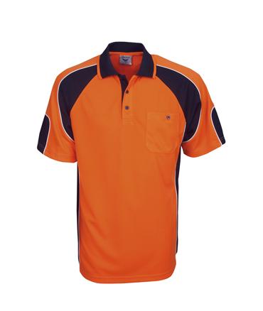 P86 Hi Vis Side Panel Safety  Polo Shirt Orange / Navy