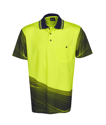 P67  Yellow / Navy Sublimated Polo shirt