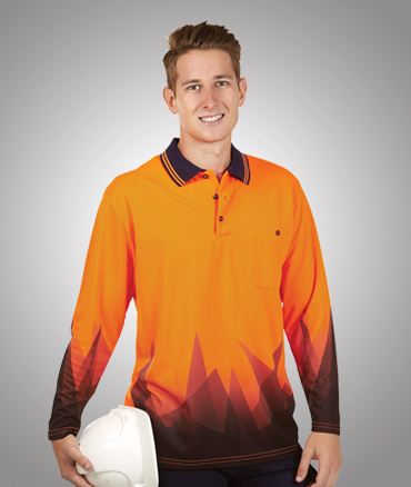 P68 Sublimated Hi Vis safety polo shirt Cool Dry Long Sleeve
