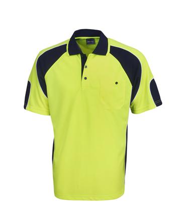 P86 Hi Vis Side Panel Safety  Polo Shirt Fluro Yellow / Navy