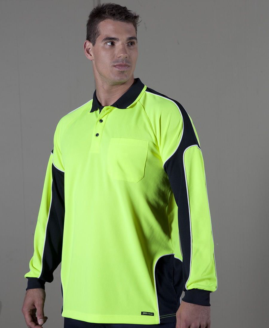 JBs Hi Visarm panel hi vis long sleeve polo