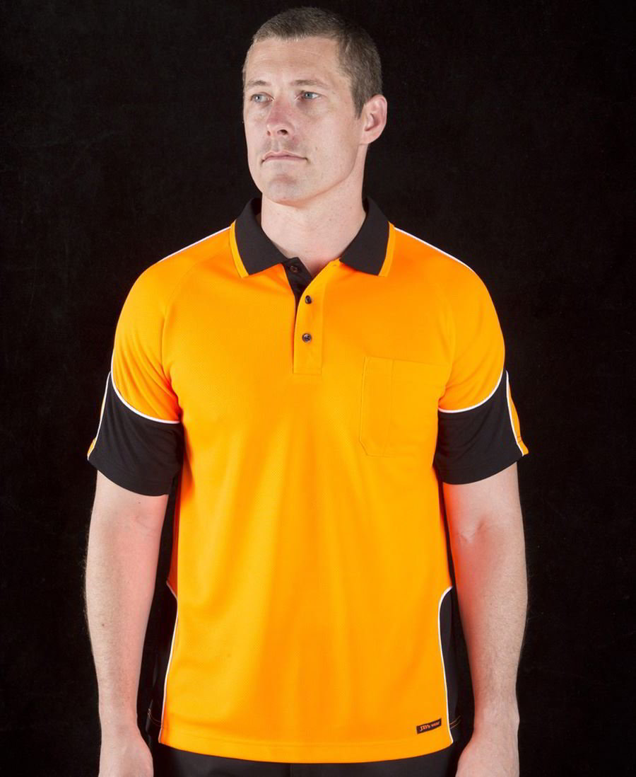 JBs Hi Vis arm panel hi vis short sleeve polo