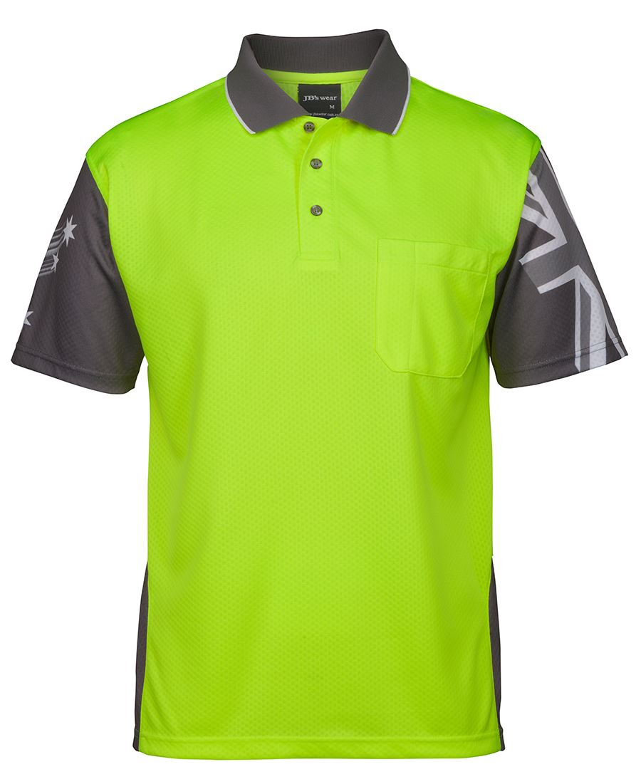 Hi Vis Safety Polo shirt Short Sleeve Southern Cross design