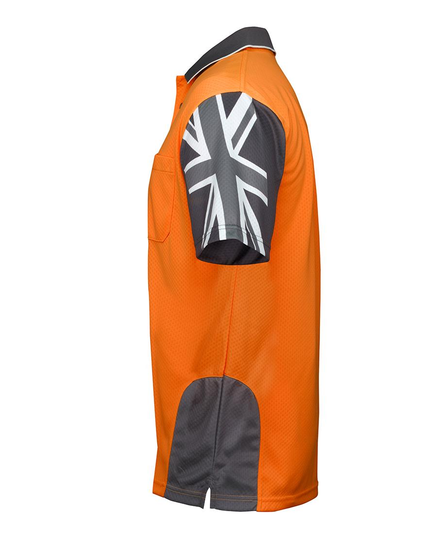 JBs Hi Vis Long Sleeve Polo South Cross design on sleeve