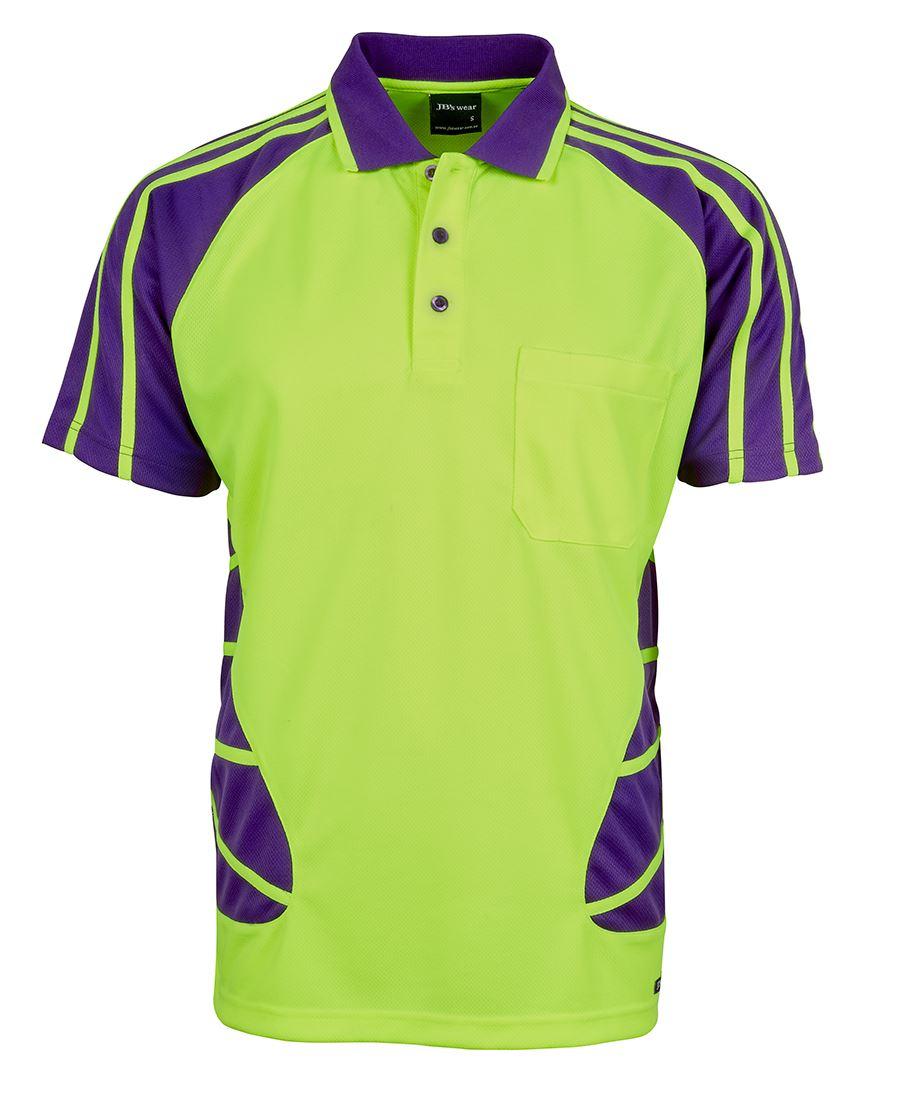 Spider Hi Vis Safety Polo Shirt Purple Lime