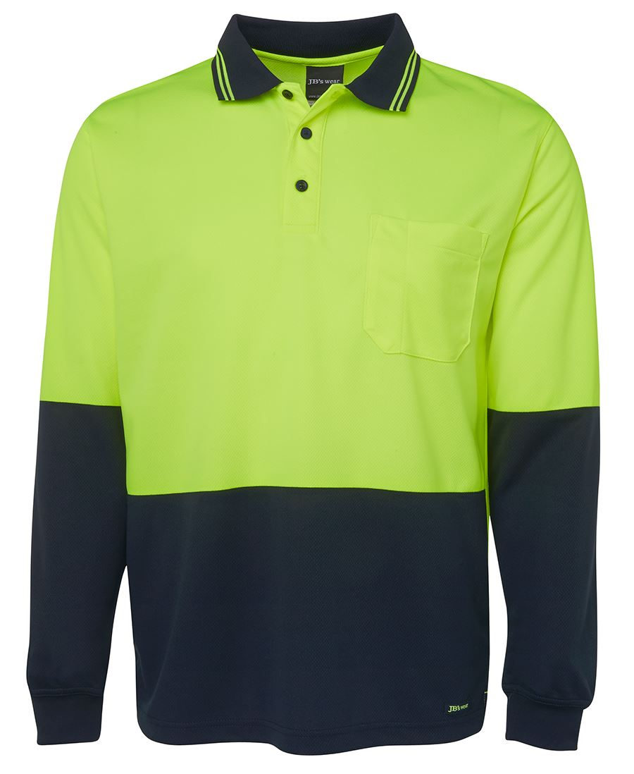 Yellow Navy Hi Vis Long Sleeve Polo shirt