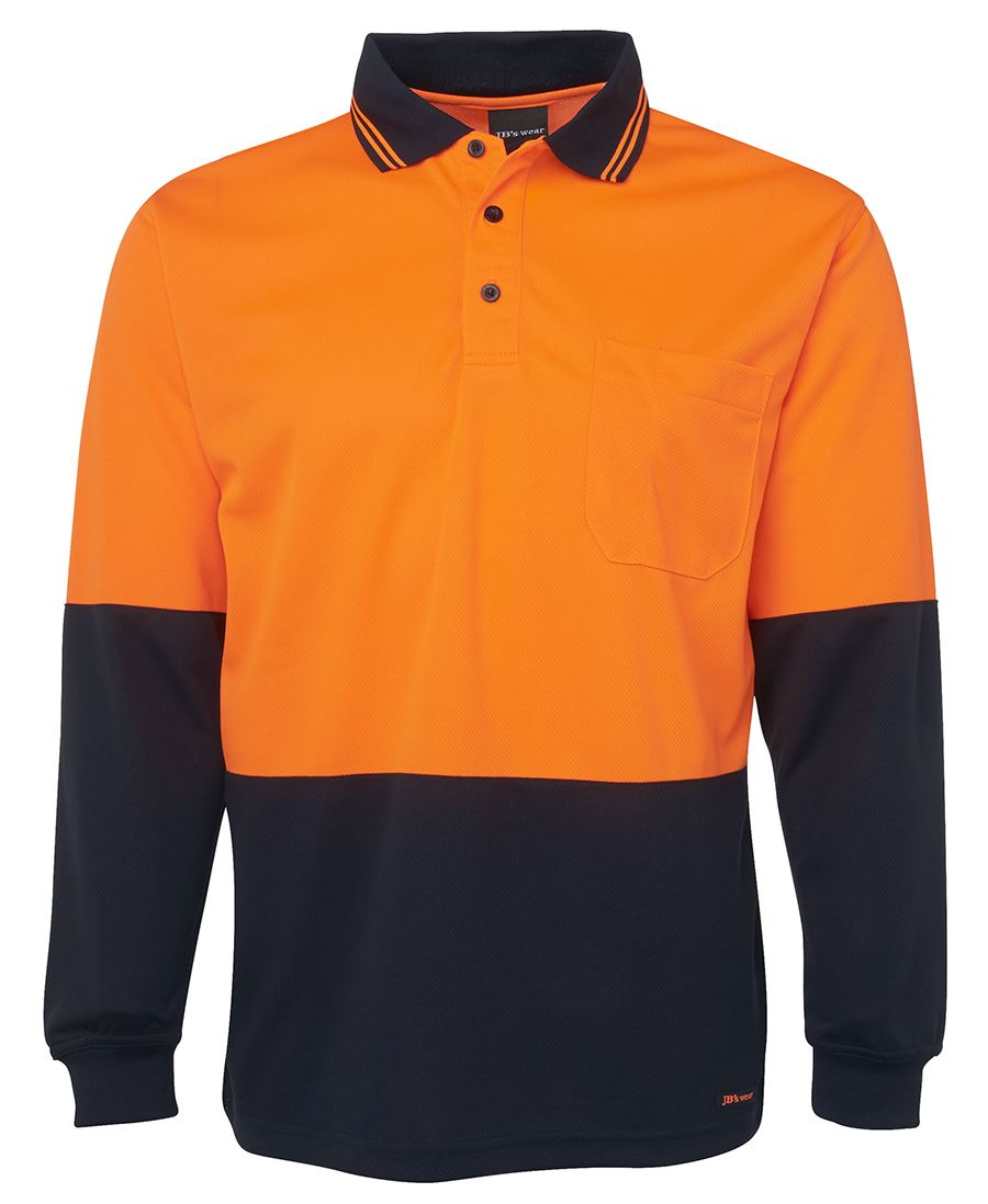 orange Navy Hi Vis Safety Polo Shirt Long Sleeve