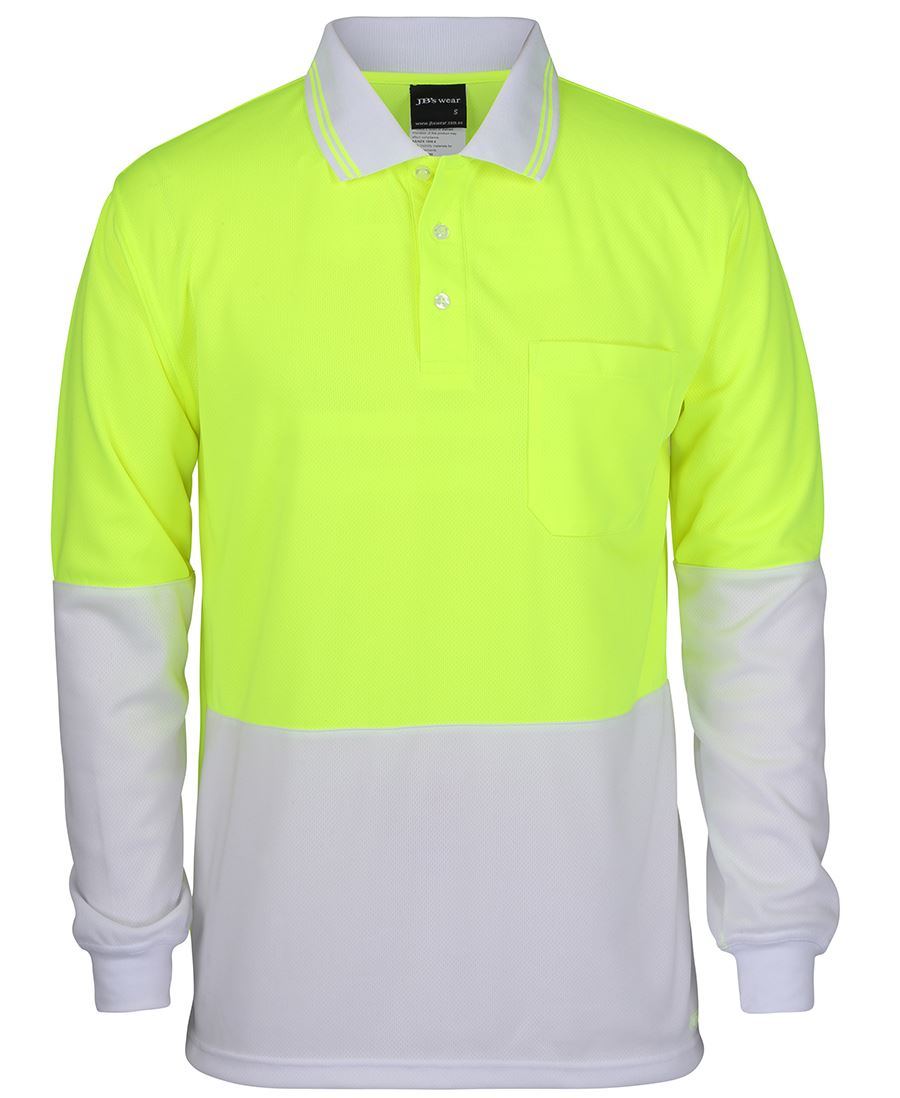 Hi Vis White Yellow Polo shirt Long Sleeve