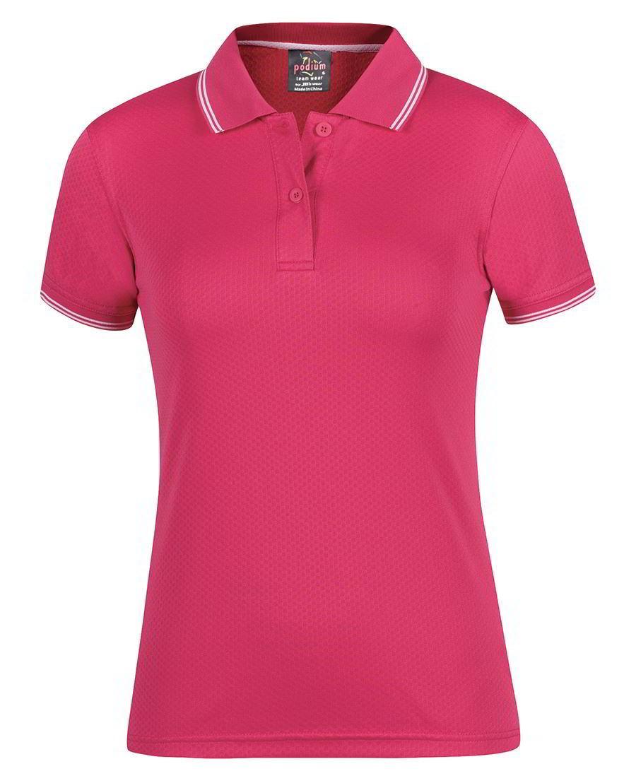 Ladies Podium Jacquard Contrast Polo shirt