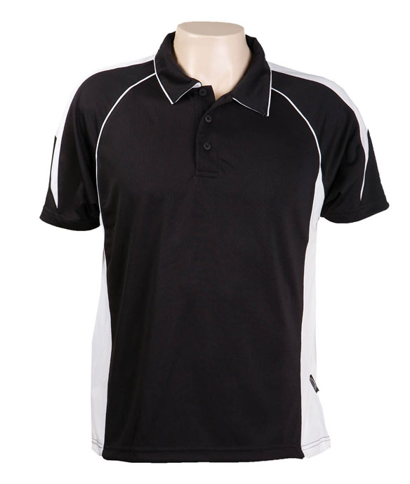 Black / White  334 Olympikool Polo shirts, Cool dry, breathable, light weight, Mens, Ladies, Kids