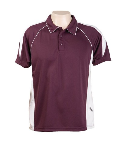 burgundy White334 Olympikool Polo shirts, Cool dry, breathable, light weight, Mens, Ladies, Kids