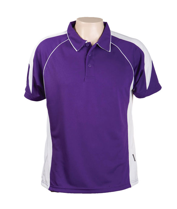 Purple / White 334 Olympikool Polo shirts, Cool dry, breathable, light weight, Mens, Ladies, KidsDescription of photo here