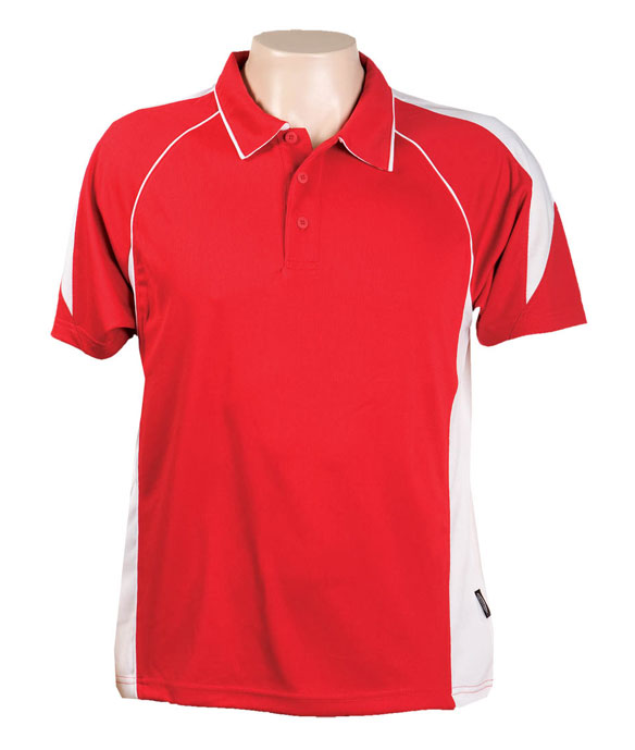 Red / White 334 Olympikool Polo shirts, Cool dry, breathable, light weight, Mens, Ladies, Kids