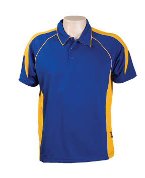 Royal / Gold 334 Olympikool Polo shirts, Cool dry, breathable, light weight, Mens, Ladies, Kids