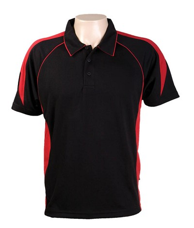 Black Red 334 Olympikool Polo shirts, Cool dry, breathable, light weight, Mens, Ladies, Kids