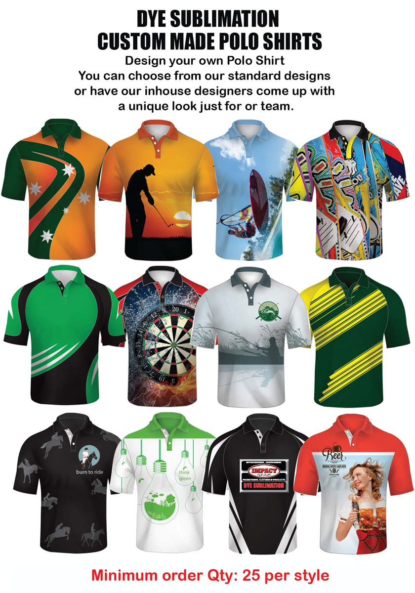 Impact Gear Dye Sublimated Polo Shirts Custom Made Cool Dry