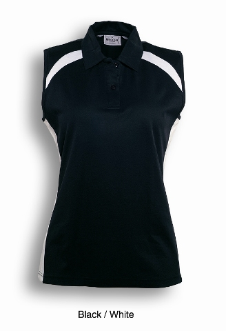 Black / White Sleeveless  Breezeway Polo shirt