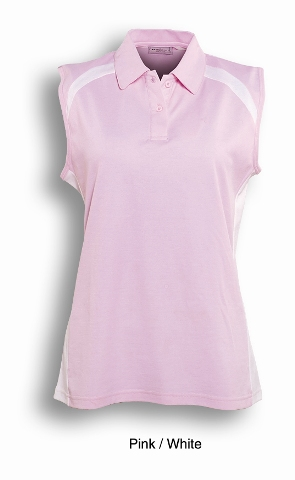 Pink / White Sleeveless Breezeway Polo shirt