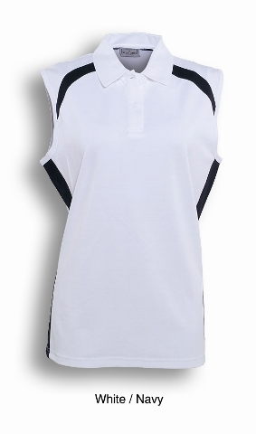 White / Navy Sleeveless Breezeway Polo shirt