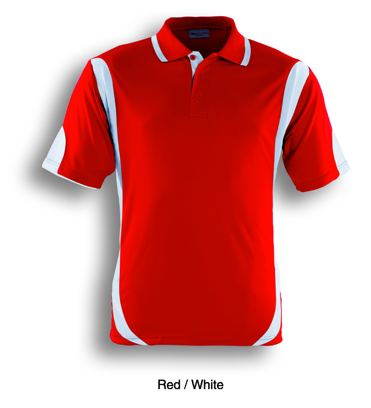 Red / White, Breezeway Contrast  Polo Shirt      UPF: excellent protection     160gsm, 100% breezeway polyester fabric     Breathable  micromesh fabric     Draws Sweat from Body, Quick Dry