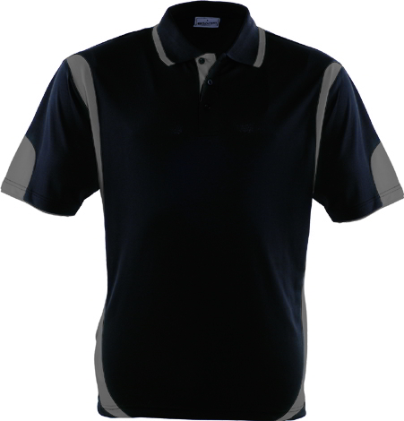 BLACK  GREY, Breezeway Contrast  Polo Shirt      UPF: excellent protection     160gsm, 100% breezeway polyester fabric     Breathable  micromesh fabric     Draws Sweat from Body, Quick Dry
