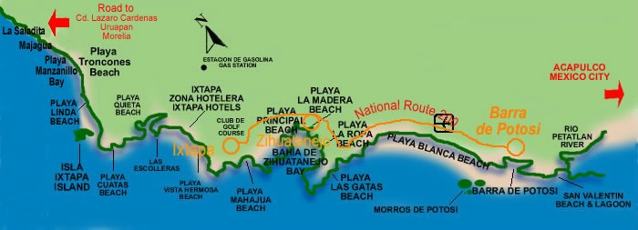 Beaches of Ixtapa and Zihuatanejo Map