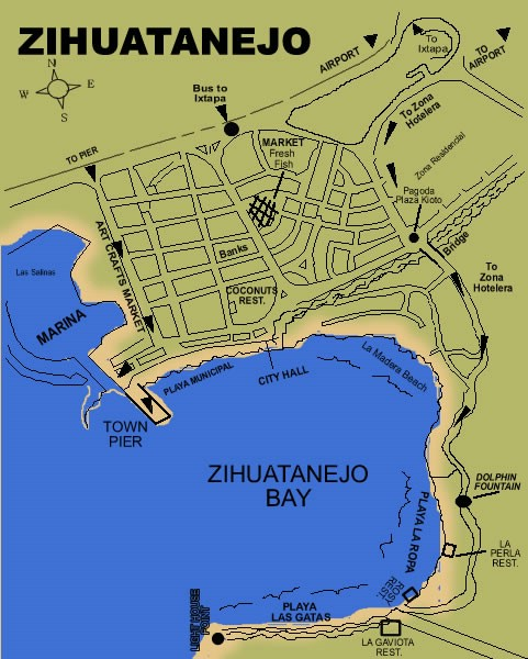 Mexico Zihuatanejo Ixtapa Map Beaches of Ixtapa and Zihuatanejo Bay