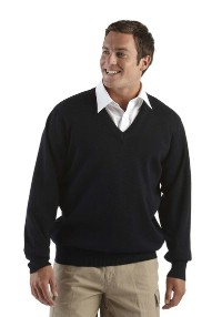 Click to Enlarge - Clothing WOOL MIX KNITTED V NECK SWEATER Walkerden Golf Australia