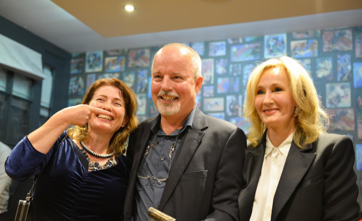 Belinda Bauer, Michael Robotham and J.K. Rowling (aka Robert Galbraith) at the award ceremony in London